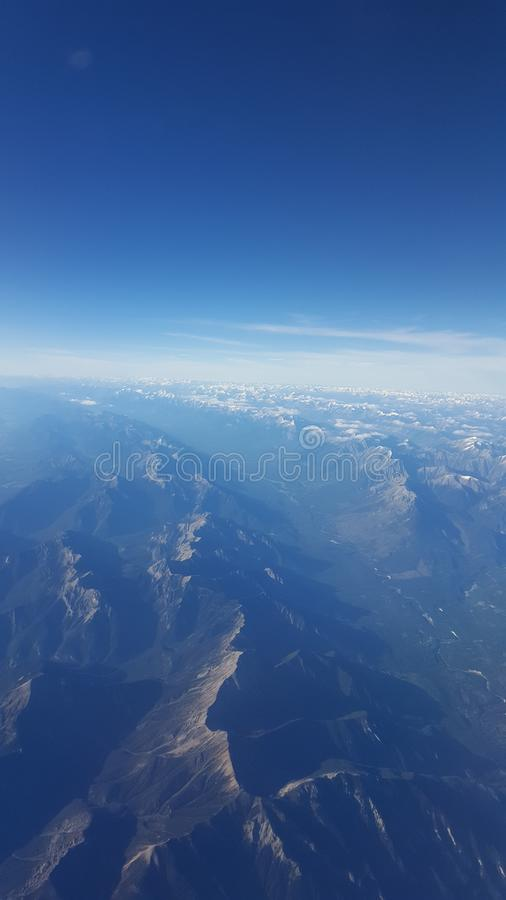 Aerial Veiw of the BC Rocky Mountains stock photography