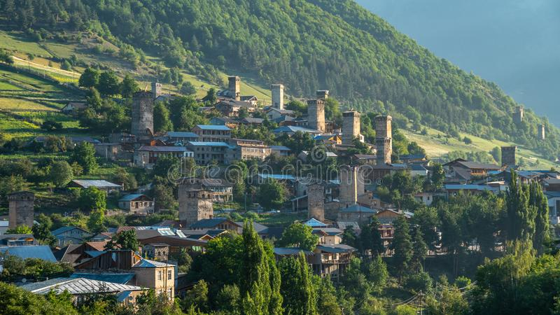 Areal view of beautiful old village Mestia. Great place to travel stock photo