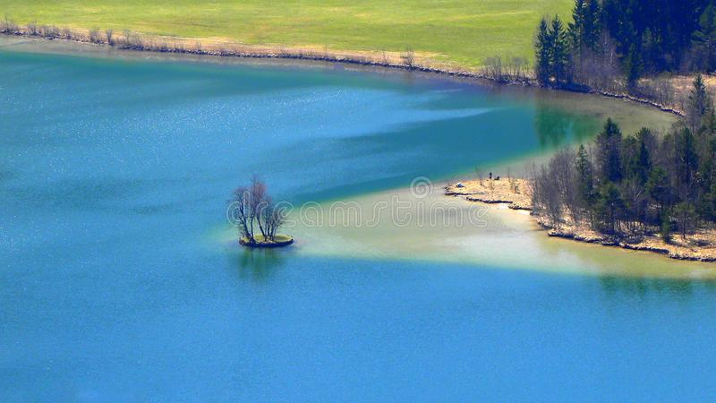 Areal View Of Body Of Water And Trees stock photo