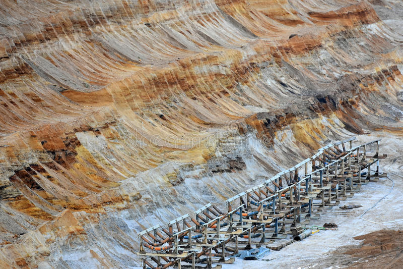 Areal view of brown coal mine stock images