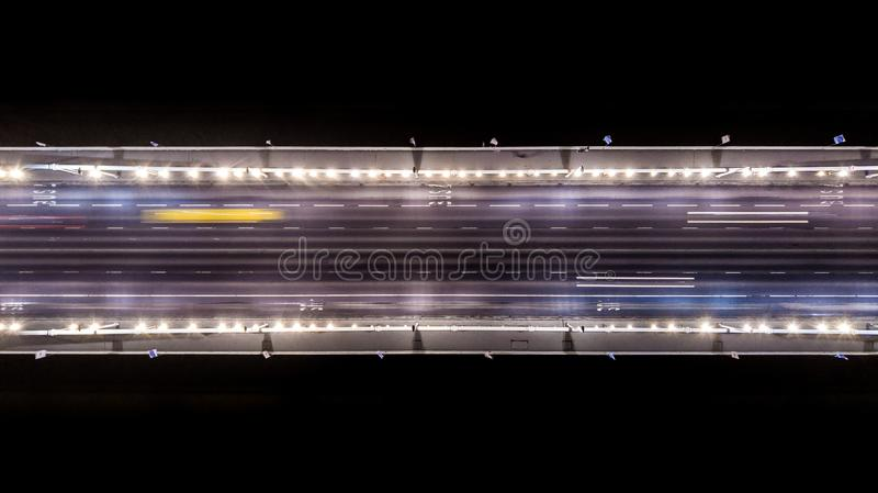 Areal view of the Elisabeth bridge at night in Budapest Hungary. From a different perspective royalty free stock image