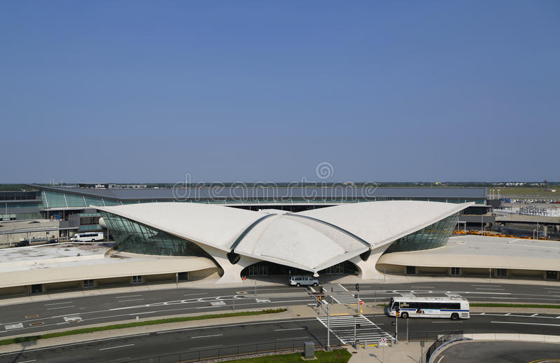 Areal view of the historic TWA Flight Center and JetBlue Terminal 5 at John F Kennedy International Airport stock photo