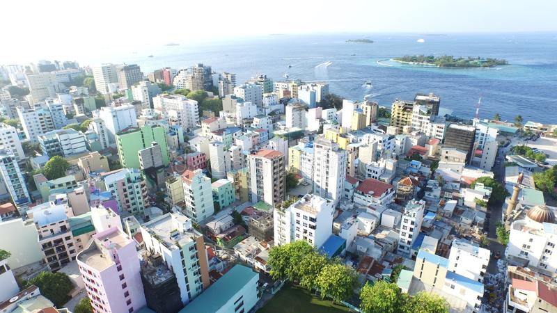 Areal view is Male Island. Areal view of Male& x27; Maldives stock photography