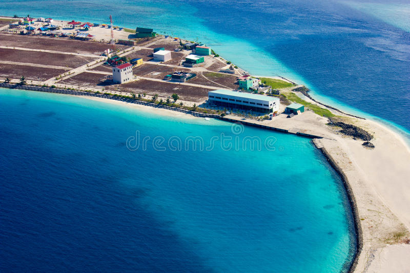 Areal view of Male and the Trans Maldivian Airport stock photo
