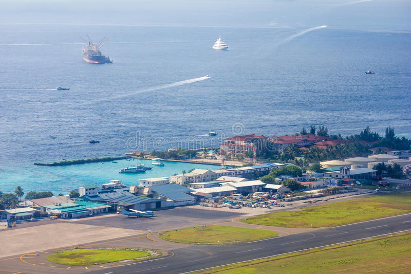 Areal view of Male and the Trans Maldivian Airport stock image