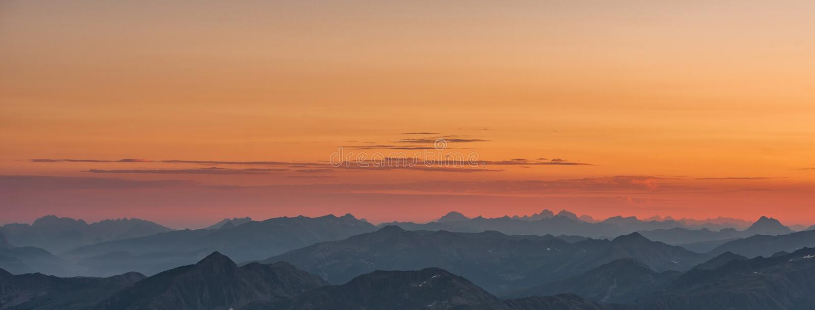 Areal View of Mountains during Sunset stock images