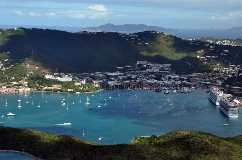 An Areal View of Charlotte Amalie in St. Thomas. An Areal View of the town of Charlotte Amalie in St. Thomas, United States Virgin Islands. The view is dotted royalty free stock photo