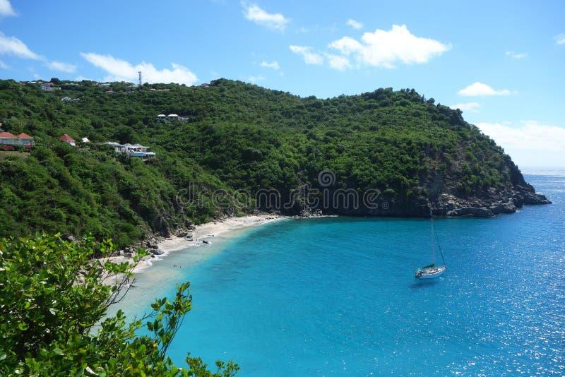 Areal widok przy Shell plażą przy St Barts, Francuscy Zachodni Indies fotografia stock
