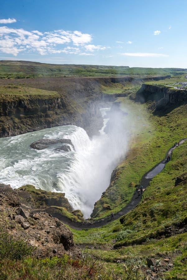 Areal widok sławny Gullfoss zdjęcia stock