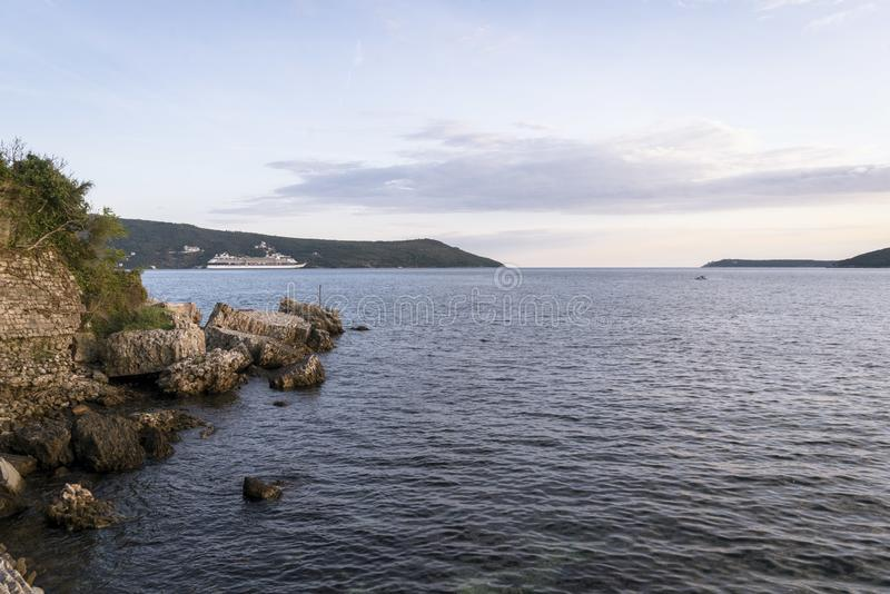 The areale view on the coast near Herceg Novi - Montenegro stock photo