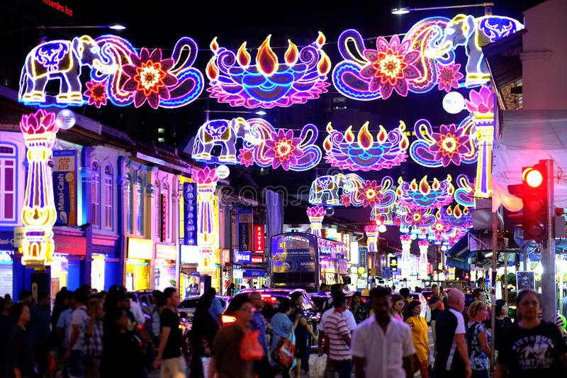 Deepavali festival. Areas along Serangoon Road Little India, Singapore in the night are beautifully decorated with colourful lights and ornaments for the annual stock photo
