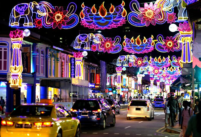 Deepavali Festival. Areas along Serangoon Road Little India, Singapore in the night are beautifully decorated with colourful lights and ornaments for the annual royalty free stock photography