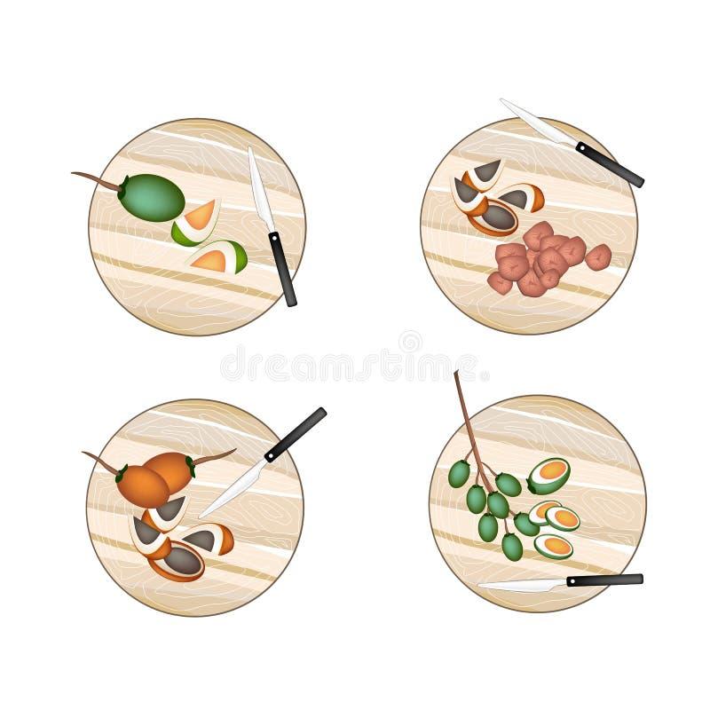 Areca Nut Fruit on A Cutting Boards vector illustration