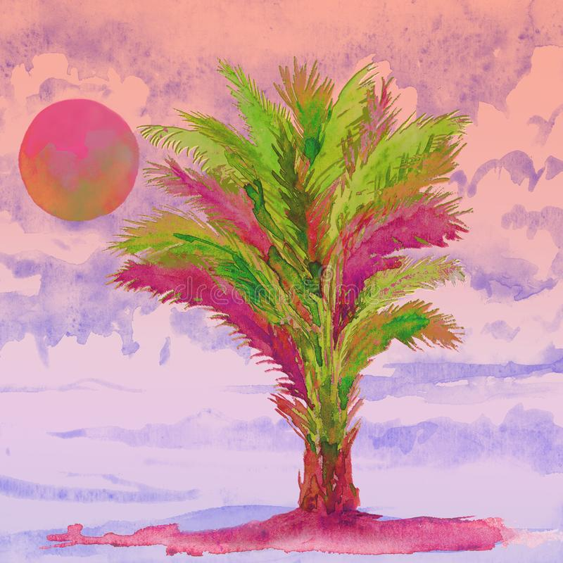 Areca palm Dypsis lutescens tree on the beach, pink sunset on cloudy sky, watercolor painting, illustration design element. For invitation, card, print, posters royalty free illustration