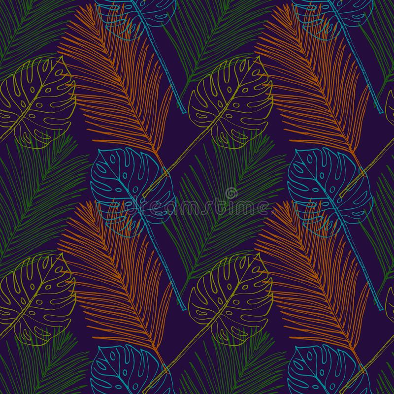 Areca Palm and Split Philodendrom colorful leaves, seamless pattern design, hand drawn doodle in dark blue background, sketch in stock illustration