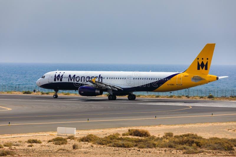 ARECIFE,西班牙- 2017年4月, 16 :空中客车国君航空公司A321  库存图片