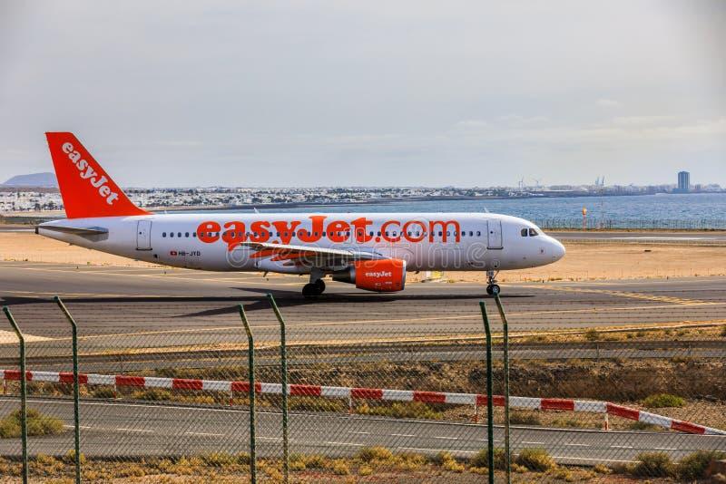 ARECIFE,西班牙- 2017年4月, 15 :easyjet空中客车A320  com读 库存图片