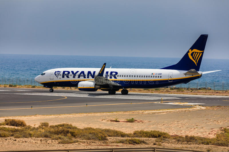 ARECIFE, SPAIN - APRIL, 16 2017: Boeing 737-800 of AYANAIR with. The registration IE-EBP ready to take off at Lanzarote Airport royalty free stock image