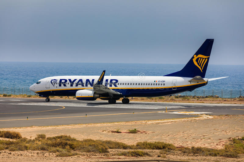 ARECIFE, SPAIN - APRIL, 16 2017: Boeing 737-800 of AYANAIR with. The registration IE-EBP ready to take off at Lanzarote Airport stock image