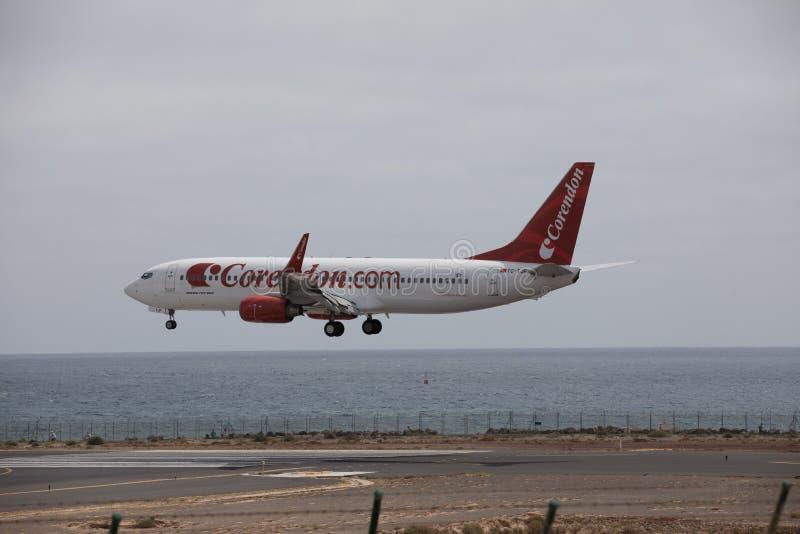 ARECIFE, SPAIN - APRIL, 15 2017: Boeing 737 - 800 of Corendon.com landing at Lanzarote Airport. ARECIFE, SPAIN - APRIL, 15 2017: Boeing 737 - 800 of Corendon.com stock photos