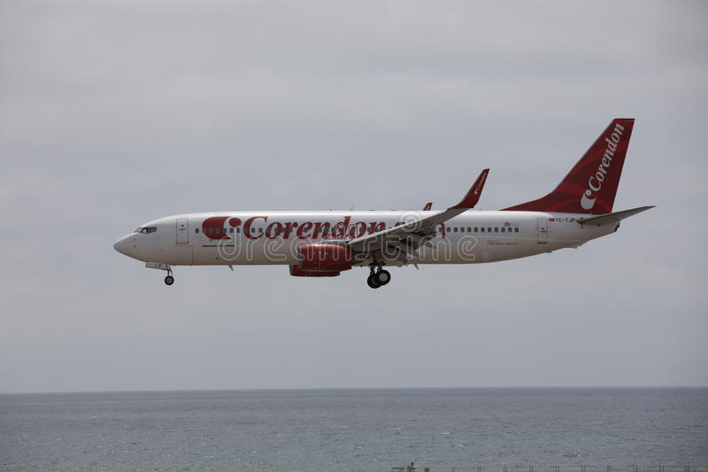 ARECIFE, SPAIN - APRIL, 15 2017: Boeing 737 - 800 of Corendon.com landing at Lanzarote Airport. ARECIFE, SPAIN - APRIL, 15 2017: Boeing 737 - 800 of Corendon.com stock images
