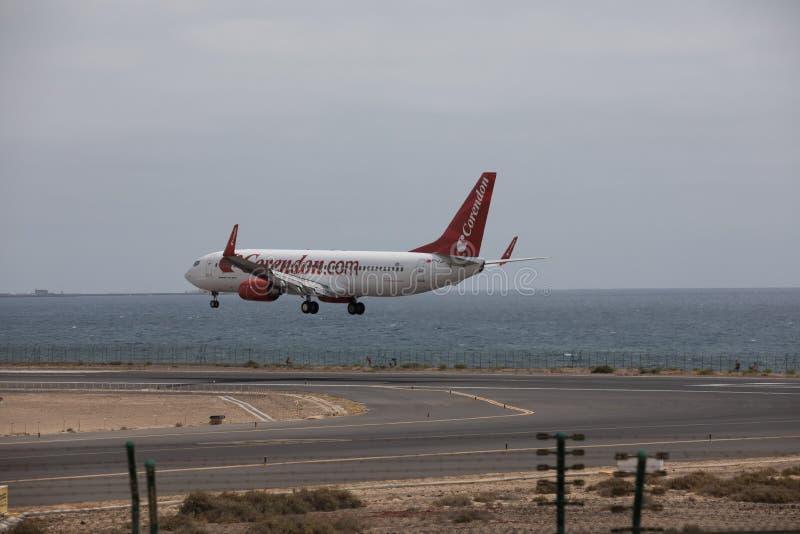 ARECIFE, SPAIN - APRIL, 15 2017: Boeing 737 - 800 of Corendon.com landing at Lanzarote Airport. ARECIFE, SPAIN - APRIL, 15 2017: Boeing 737 - 800 of Corendon.com stock photo