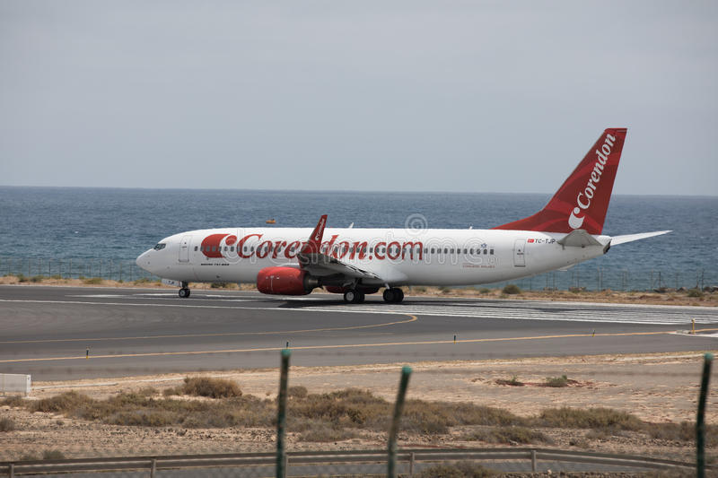 ARECIFE, SPAIN - APRIL, 15 2017: Boeing 737 - 800 of Corendon.com Lanzarote Airport. ARECIFE, SPAIN - APRIL, 15 2017: Boeing 737 - 800 of Corendon.com ready to royalty free stock photo