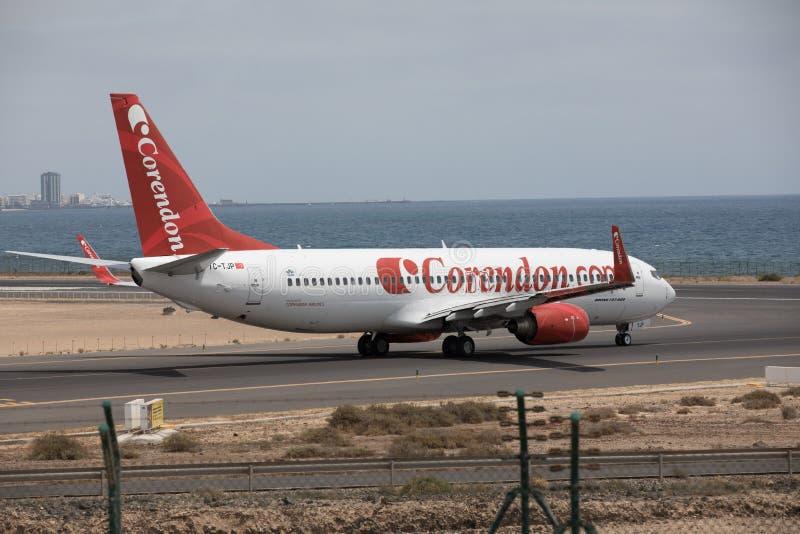 ARECIFE, SPAIN - APRIL, 15 2017: Boeing 737 - 800 of Corendon.com Lanzarote Airport. ARECIFE, SPAIN - APRIL, 15 2017: Boeing 737 - 800 of Corendon.com ready to royalty free stock photos