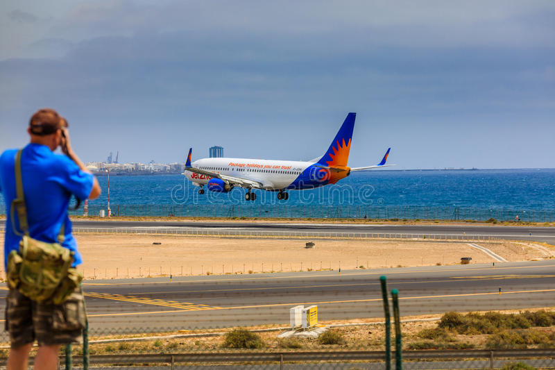 ARECIFE, SPAIN - APRIL, 15 2017: Boeing 737-800 of Jet2holidays. With the registration G-JZHA landing at Lanzarote Airport stock image