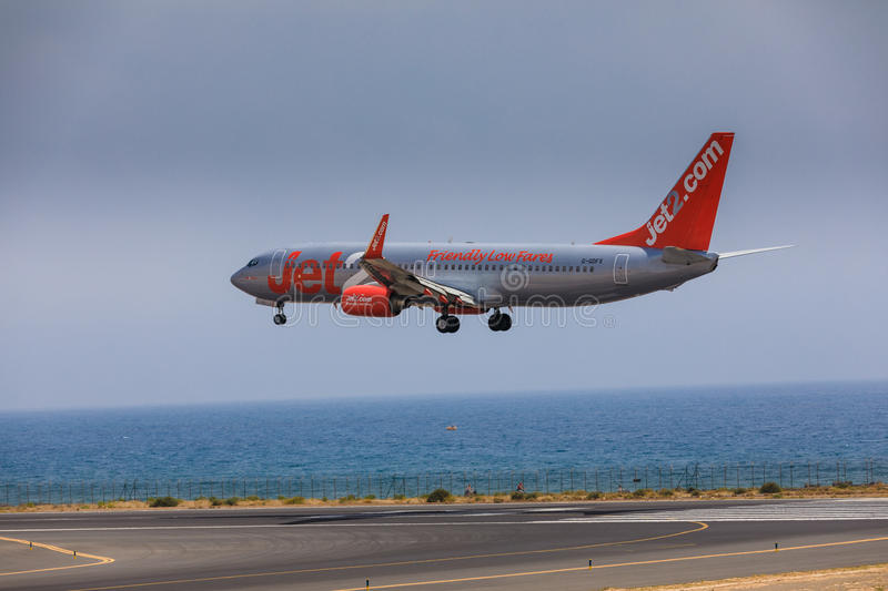 ARECIFE, SPAIN - APRIL, 16 2017: Boeing 737-800 of Jet2 with the. Registration G-Gdfx landing at Lanzarote Airport royalty free stock images