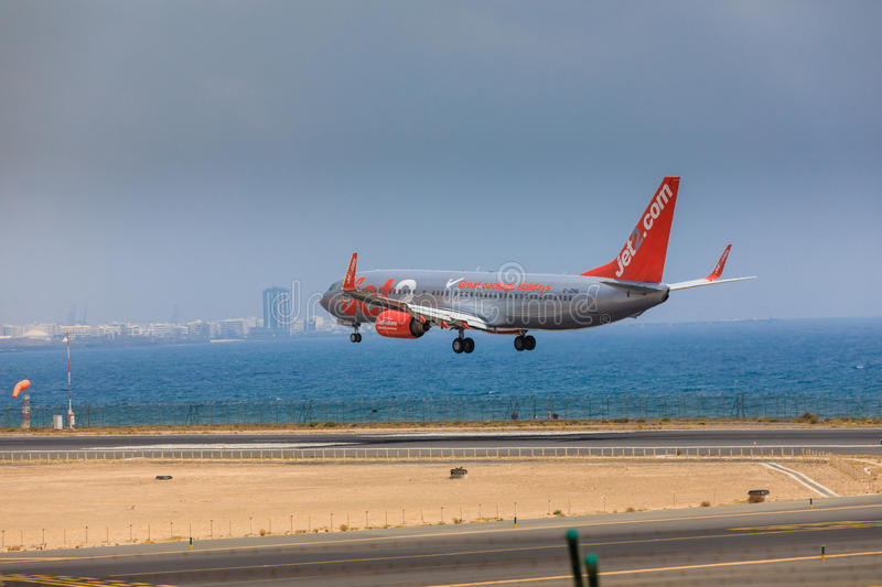 ARECIFE, SPAIN - APRIL, 16 2017: Boeing 737-800 of Jet2 with the. Registration G-JZHG landing at Lanzarote Airport royalty free stock image