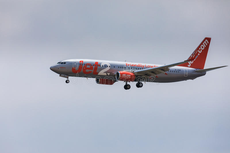 ARECIFE, SPAIN - APRIL, 16 2017: Boeing 737-800 of Jet2 with the. Registration G-JZHG landing at Lanzarote Airport royalty free stock images
