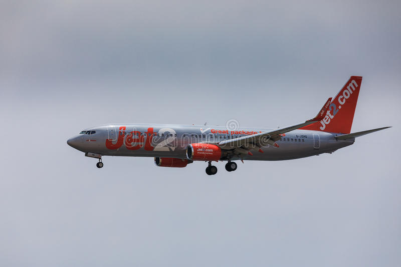 ARECIFE, SPAIN - APRIL, 16 2017: Boeing 737-800 of Jet2 with the. Registration G-JZHG landing at Lanzarote Airport stock photo