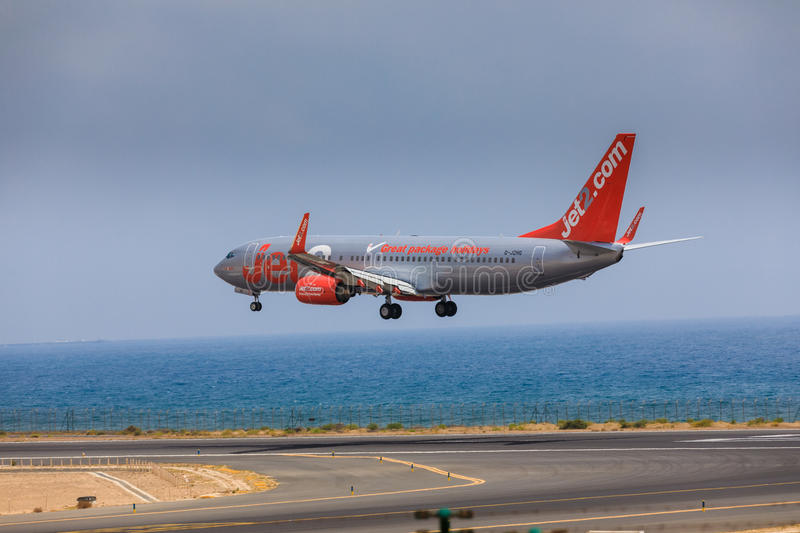 ARECIFE, SPAIN - APRIL, 16 2017: Boeing 737-800 of Jet2 with the. Registration G-JZHG landing at Lanzarote Airport stock image