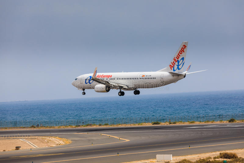 ARECIFE, SPAIN - APRIL, 16 2017: Boeing 737-800 of with the reg. Istration EC-LYR landing at Lanzarote Airport royalty free stock images