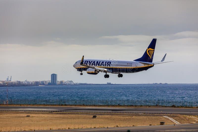 ARECIFE, SPAIN - APRIL, 15 2017: Boeing 737-800 of RYANAIR landing at Lanzarote Airport royalty free stock photo