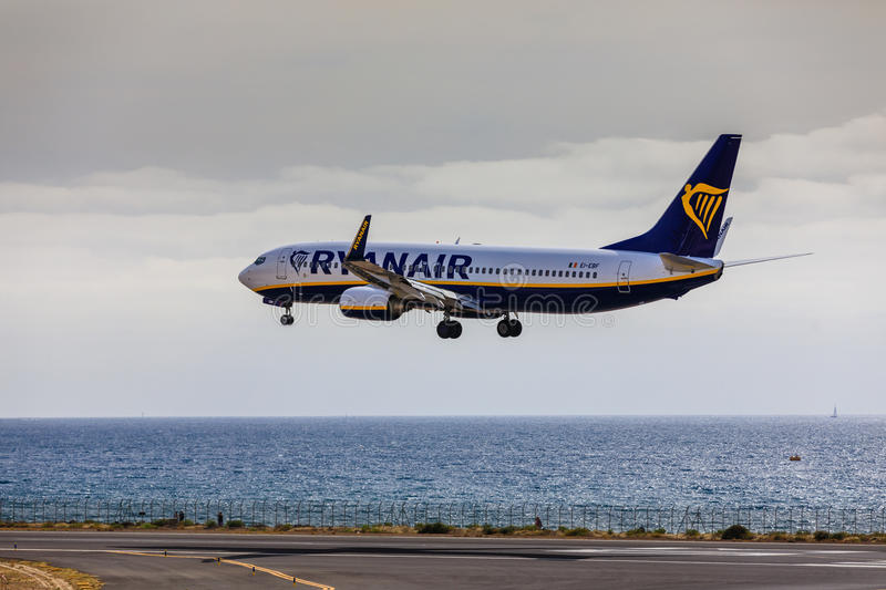 ARECIFE, SPAIN - APRIL, 15 2017: Boeing 737-800 of RYANAIR landing at Lanzarote Airport royalty free stock photography