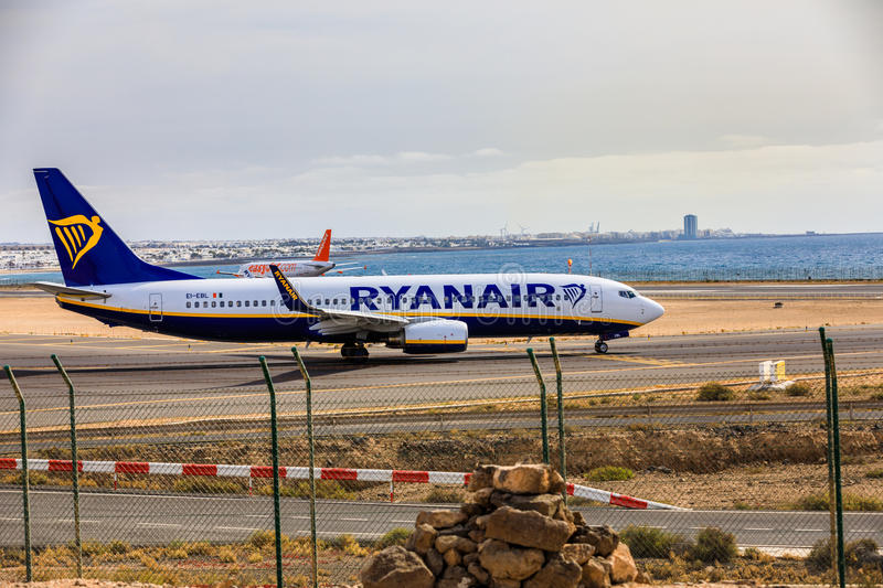 ARECIFE, SPAIN - APRIL, 15 2017: Boeing 737-800 of RYANAIR with. The registration EI-EBL ready to take off at Lanzarote Airport royalty free stock image
