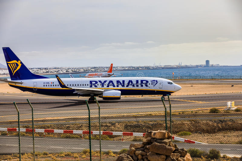 ARECIFE, SPAIN - APRIL, 15 2017: Boeing 737-800 of RYANAIR with. The registration EI-EBL ready to take off at Lanzarote Airport stock photography