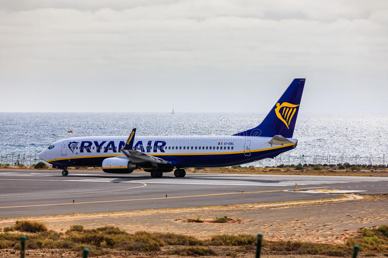 ARECIFE, SPAIN - APRIL, 15 2017: Boeing 737-800 of RYANAIR with. The registration EI-EBL ready to take off at Lanzarote Airport stock image