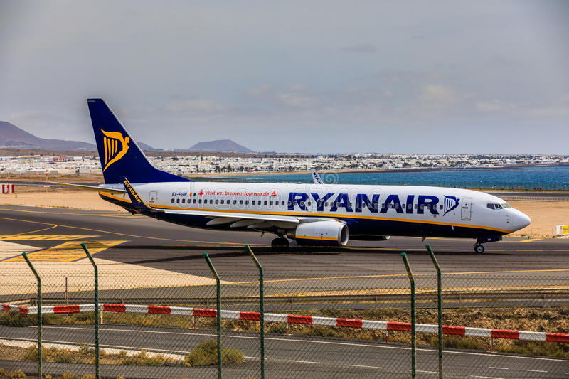 ARECIFE, SPAIN - APRIL, 15 2017: Boeing 737-800 of RYANAIR with. The registration EI-EBN ready to take off at Lanzarote Airport stock images