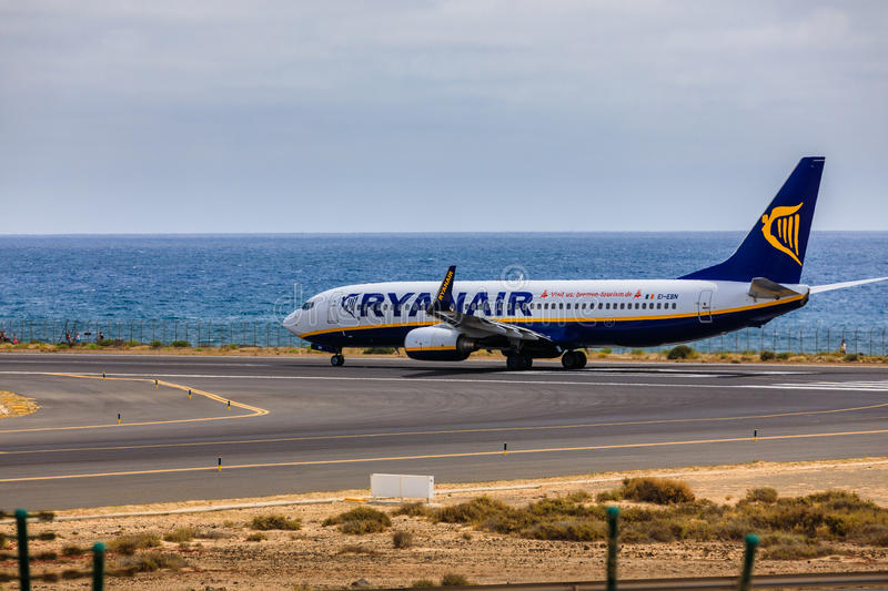 ARECIFE, SPAIN - APRIL, 15 2017: Boeing 737-800 of RYANAIR with. The registration EI-EBN ready to take off at Lanzarote Airport royalty free stock image