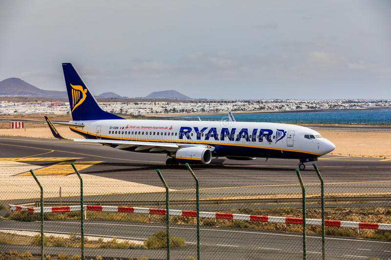 ARECIFE, SPAIN - APRIL, 15 2017: Boeing 737-800 of RYANAIR with. The registration EI-EBN ready to take off at Lanzarote Airport stock photo