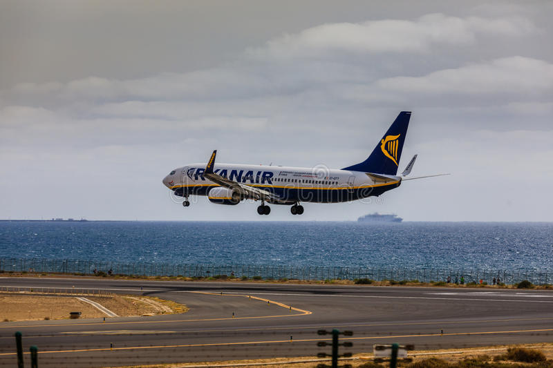 ARECIFE, SPAIN - APRIL, 15 2017: Boeing 737-800 of RYANAIR with. The registration EI-EFY landing at Lanzarote Airport royalty free stock images