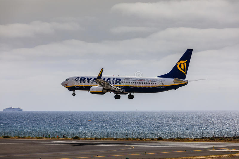 ARECIFE, SPAIN - APRIL, 15 2017: Boeing 737-800 of RYANAIR with. The registration EI-EFY landing at Lanzarote Airport royalty free stock photos