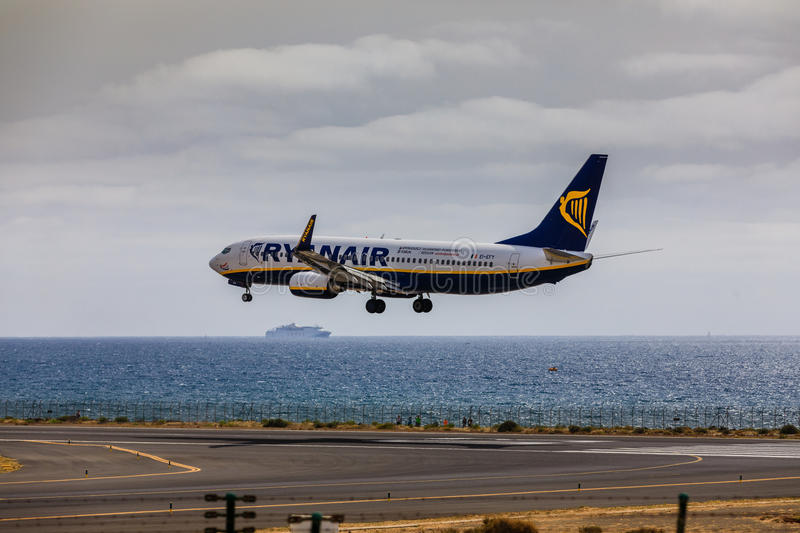 ARECIFE, SPAIN - APRIL, 15 2017: Boeing 737-800 of RYANAIR with. The registration EI-EFY landing at Lanzarote Airport royalty free stock photography