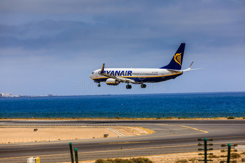 ARECIFE, SPAIN - APRIL, 15 2017: Boeing 737-800 of RYANAIR with. The registration EI-ENP landing at Lanzarote Airport stock images