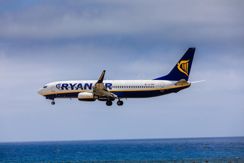 ARECIFE, SPAIN - APRIL, 15 2017: Boeing 737-800 of RYANAIR with. The registration EI-ENP landing at Lanzarote Airport royalty free stock images