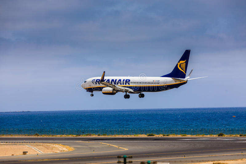 ARECIFE, SPAIN - APRIL, 15 2017: Boeing 737-800 of RYANAIR with. The registration EI-ENP landing at Lanzarote Airport stock image