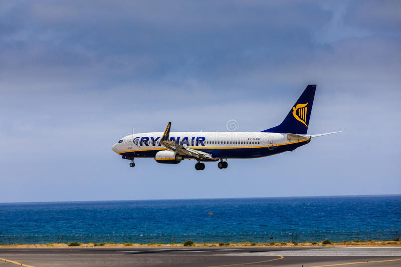 ARECIFE, SPAIN - APRIL, 15 2017: Boeing 737-800 of RYANAIR with. The registration EI-ENP landing at Lanzarote Airport royalty free stock photo